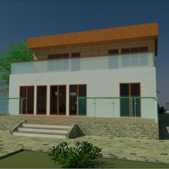 3D House Flat Roof