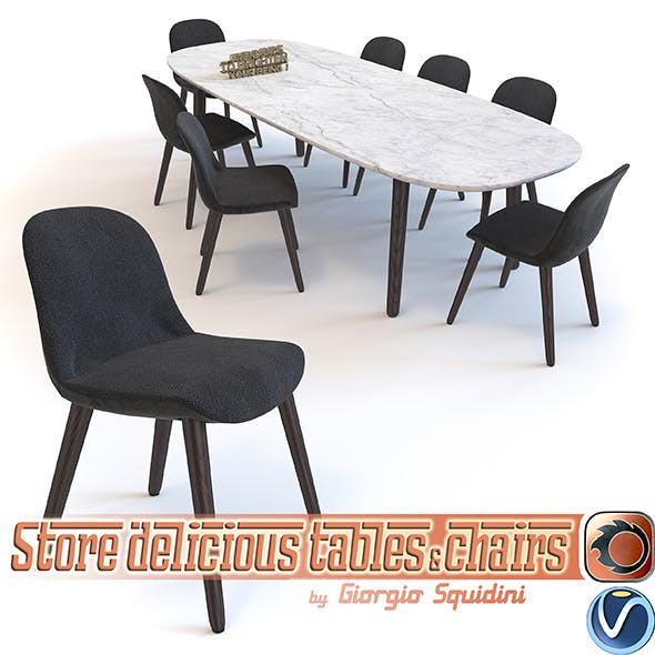 Poliform Mad dinning Chair & Table - 3DOcean Item for Sale