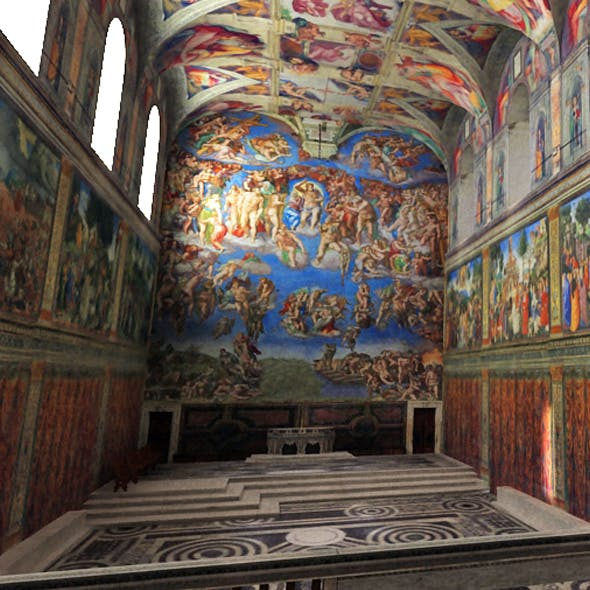 Sistine Chapel Interior Low Poly