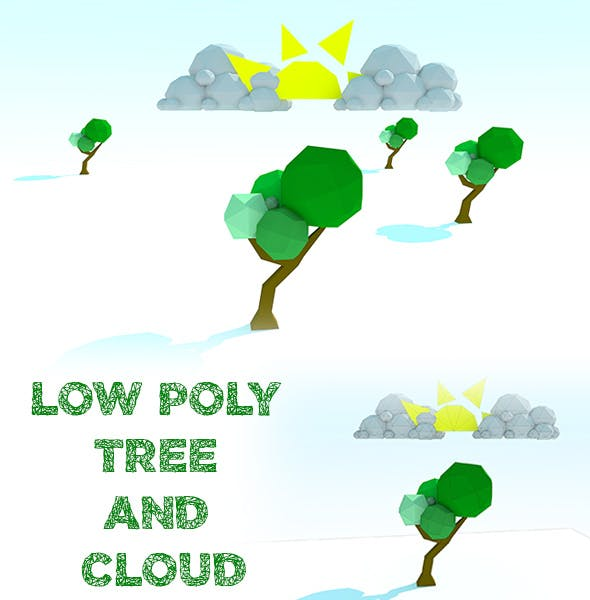 Low Poly Tree and Cloud - 3DOcean Item for Sale