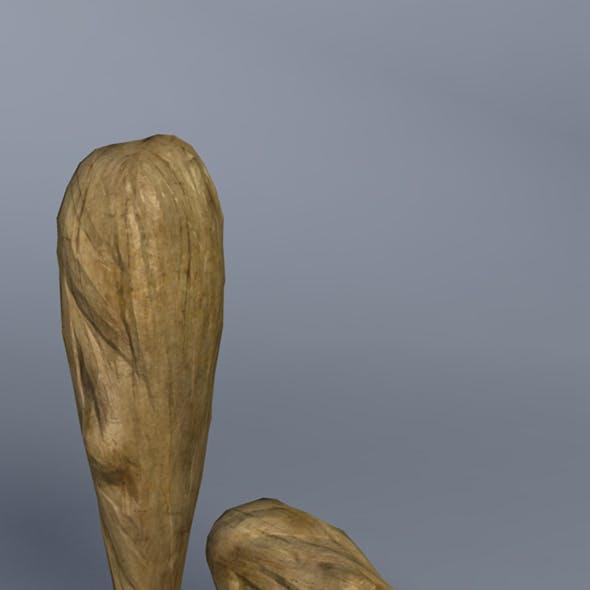 Low Poly Wood Club - Maya, mb, OBJ, FBX + Textures