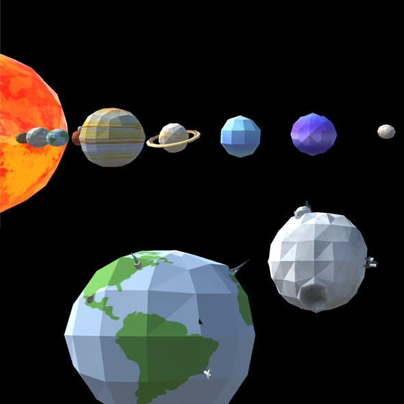 Low Poly 3D Solar System