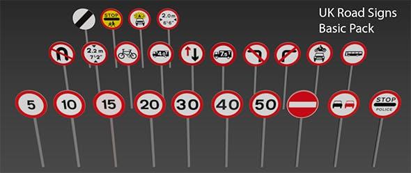 24 Basic UK Road Signs - 3DOcean Item for Sale