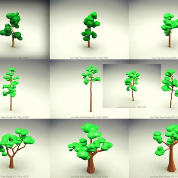 Low Poly Tree 10 Pieces Set