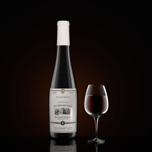 Bottle wine and wineglass - 3DOcean Item for Sale