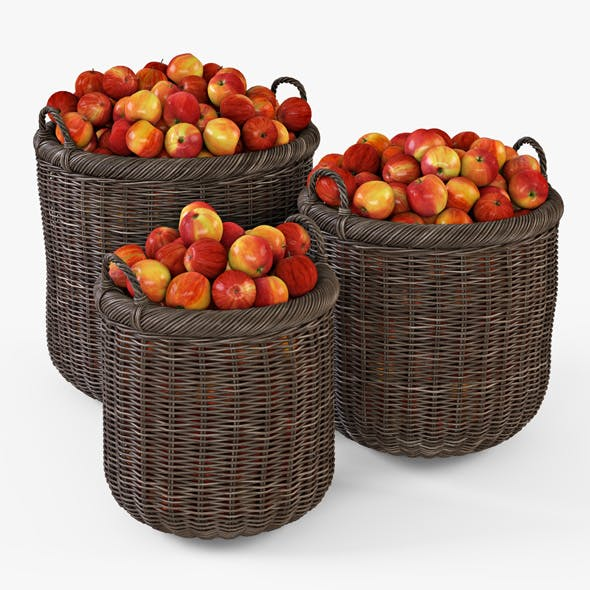 Wicker Basket 07 Walnut Brown Color with Apples