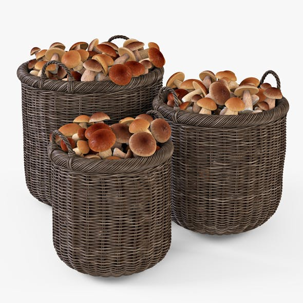 Wicker Basket 07 (Walnut Brown Color) with Mushrooms