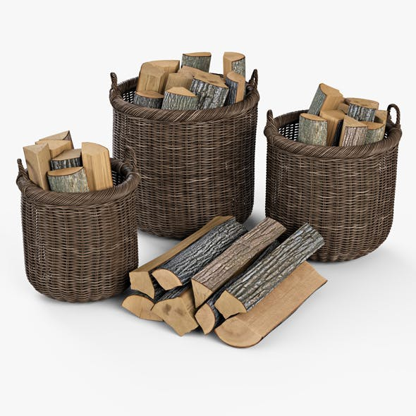 Wicker Basket 07 (Walnut Brown Color) with Firewood