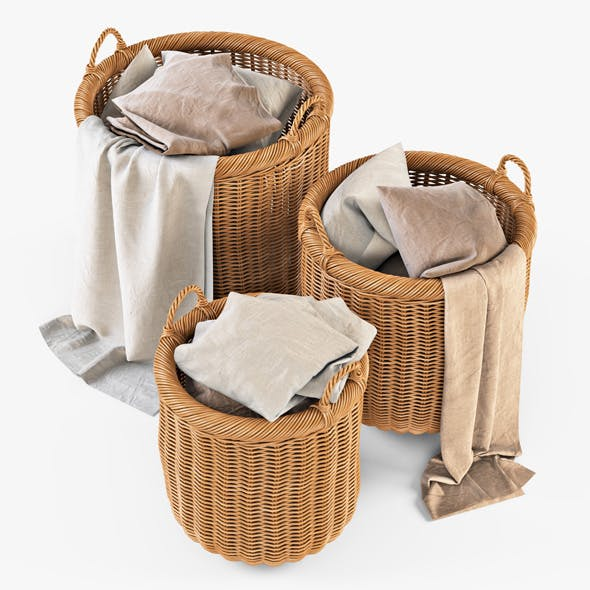 Wicker Basket 07 (Toasted Oat Color) with Cloth - 3DOcean Item for Sale