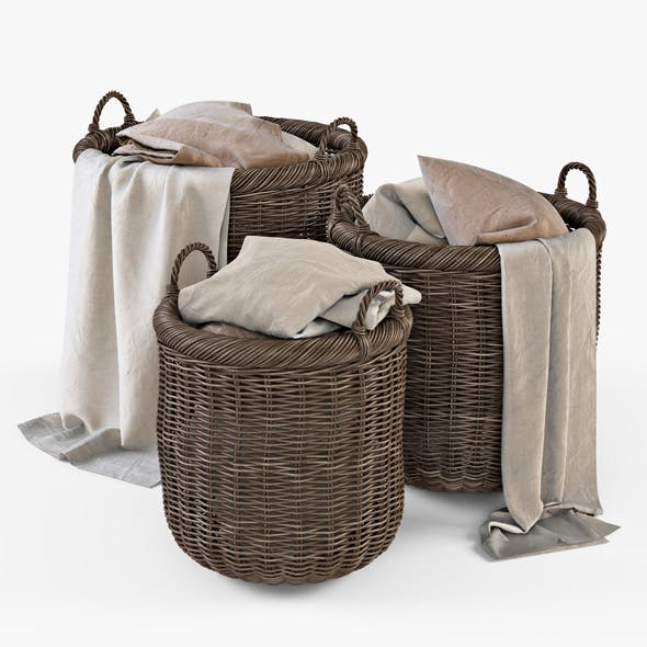 Wicker Basket 07 (Walnut Brown) with Cloth