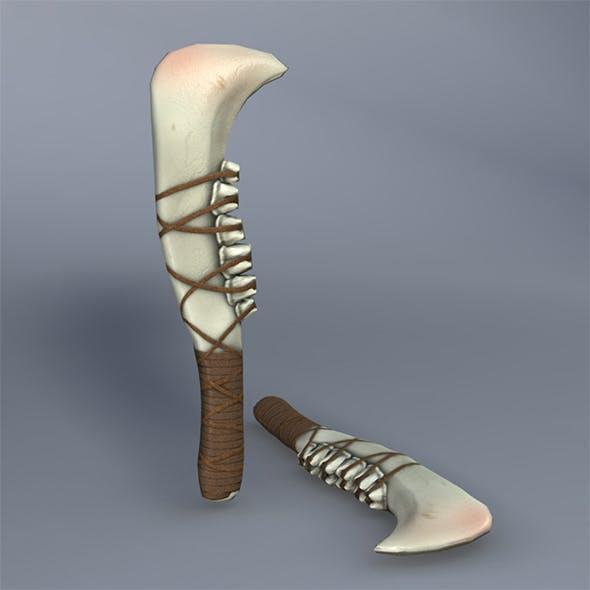 Low Poly Jaw Bone Knife - Maya, mb, OBJ, FBX + Textures