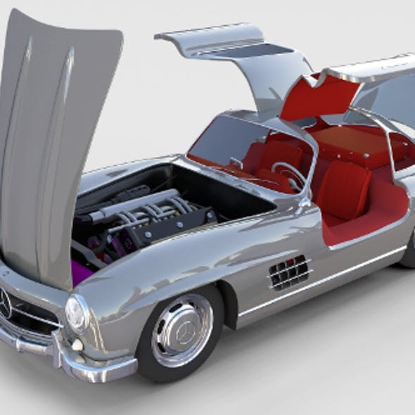 Fully Modelled/Rigged Mercedes 300SL Gullwing rev