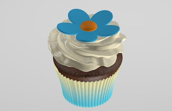 Cupcake with flower - 3DOcean Item for Sale