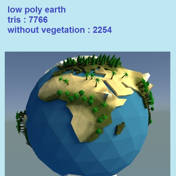 low poly earth planet