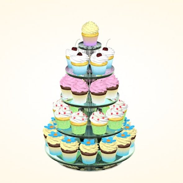Glass stand with cupcakes