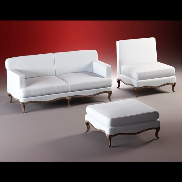 Quality model of classic set sofa, chair, ottoman - 3DOcean Item for Sale