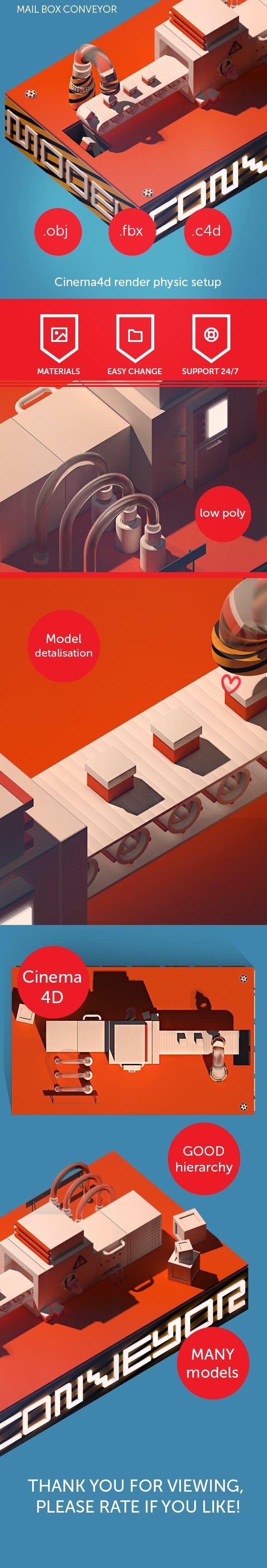 Mail box conveyor - 3DOcean Item for Sale