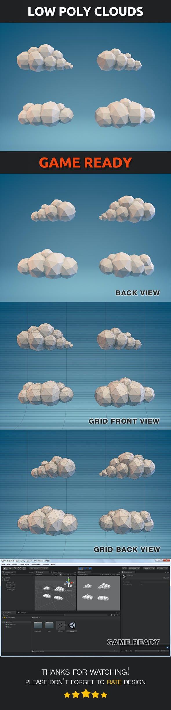 Low Poly Clouds Part 01 - 3DOcean Item for Sale