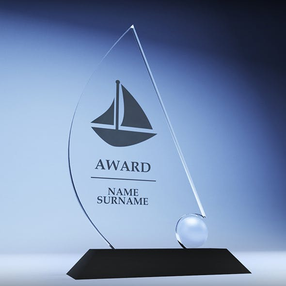 Trophy award cup low poly 06