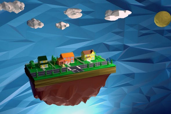Low Poly - House Scene with human - 3DOcean Item for Sale