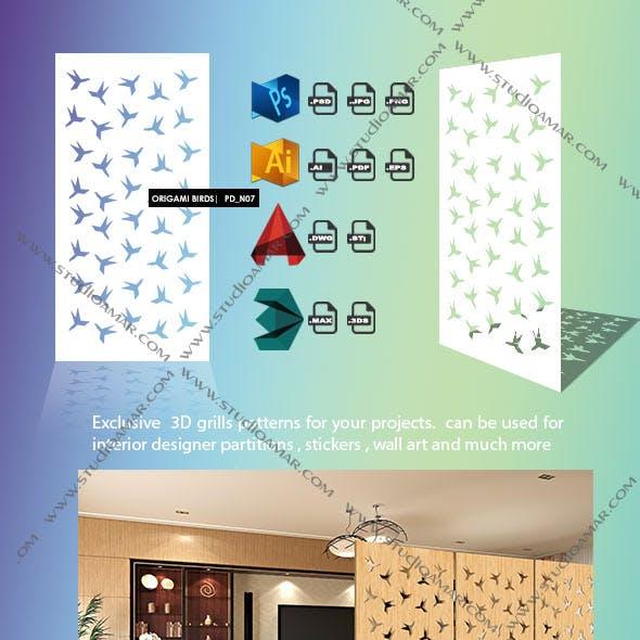 Origami birds (3d screen) N07