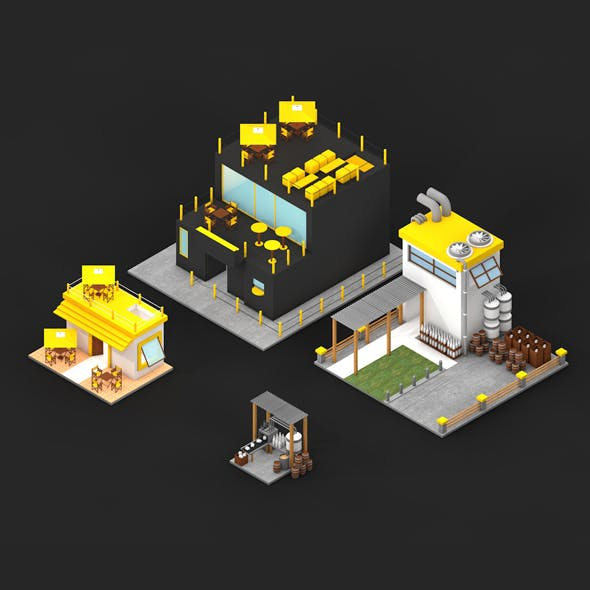 LOW POLY FACTORY AND BAR KIT