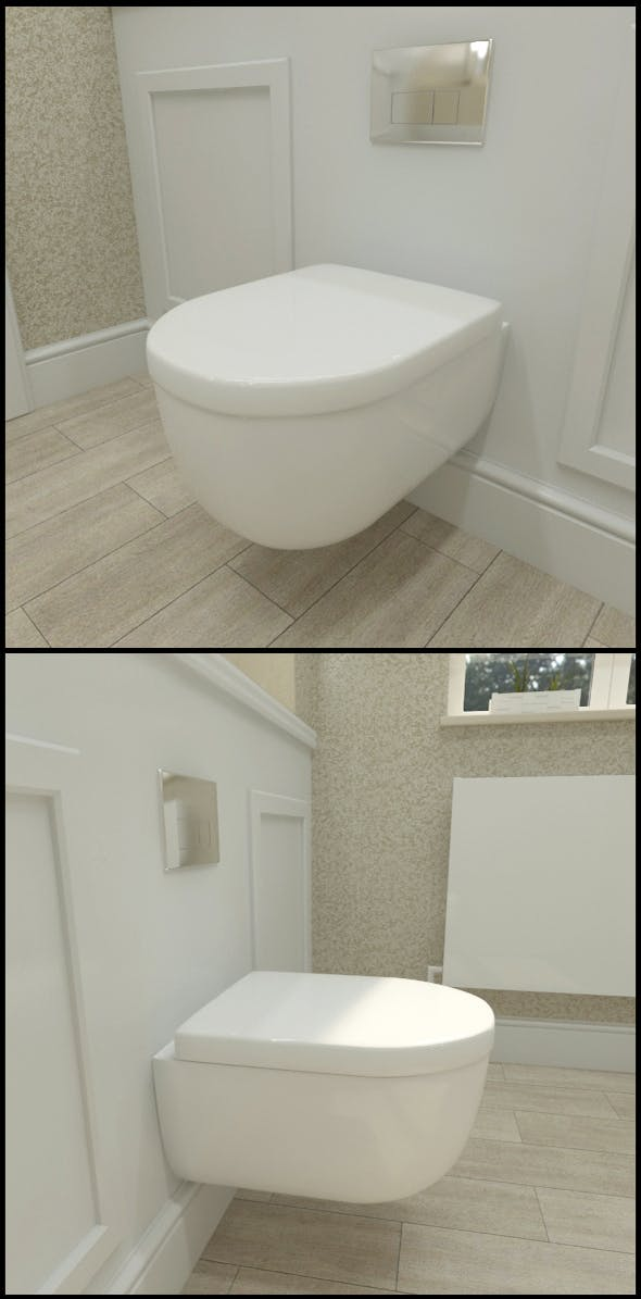 Ceramic wall hung toilet with flush plate - 3DOcean Item for Sale