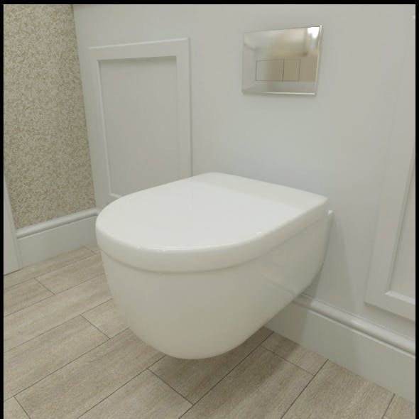 Ceramic wall hung toilet with flush plate