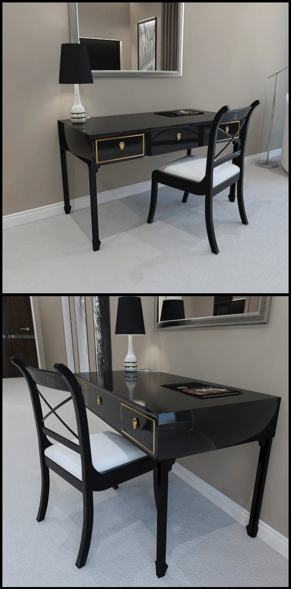 Black lacquer desk and chair - 3DOcean Item for Sale
