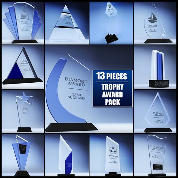 Trophy award cup low poly pack - 3DOcean Item for Sale