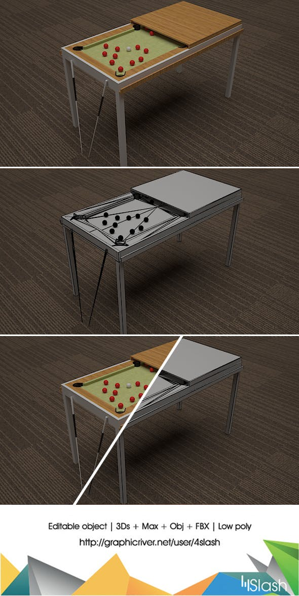 Convertible Snooker Table - 3DOcean Item for Sale