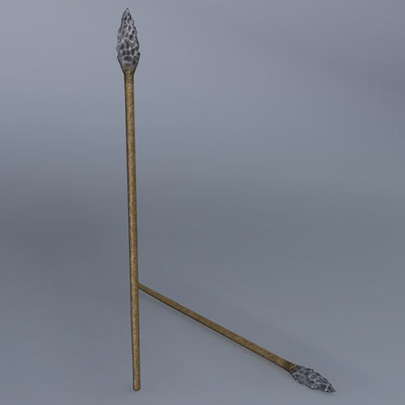 Low Poly Flint Spear - Maya, mb, OBJ, FBX + Textures