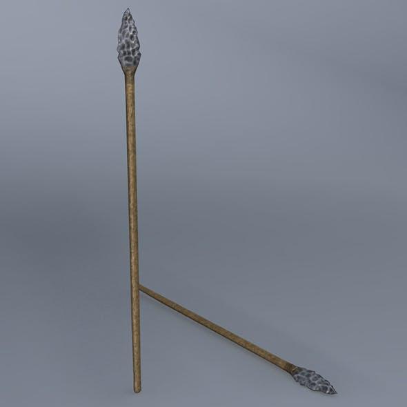 Low Poly Flint Spear - Maya, mb, OBJ, FBX + Textures