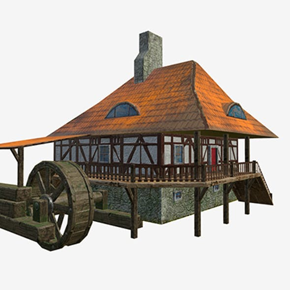 Low poly Water mill with Hi and low LODs game mode