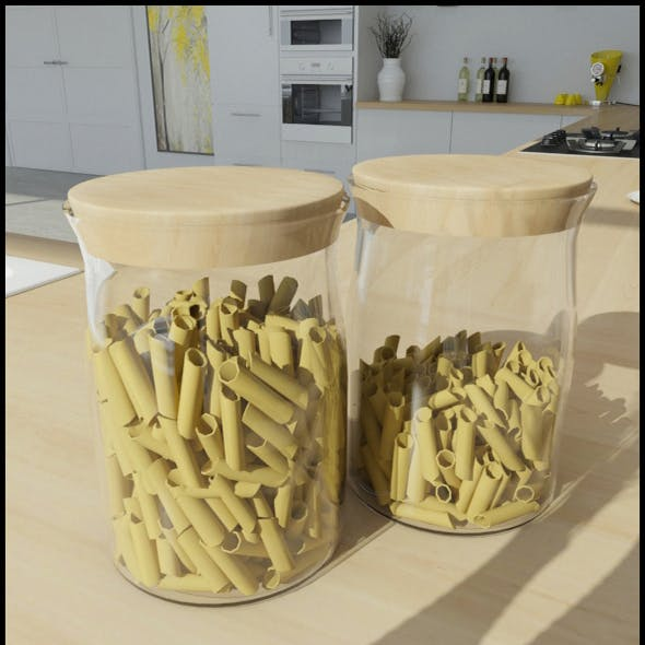Glass jars with pasta (Penne)