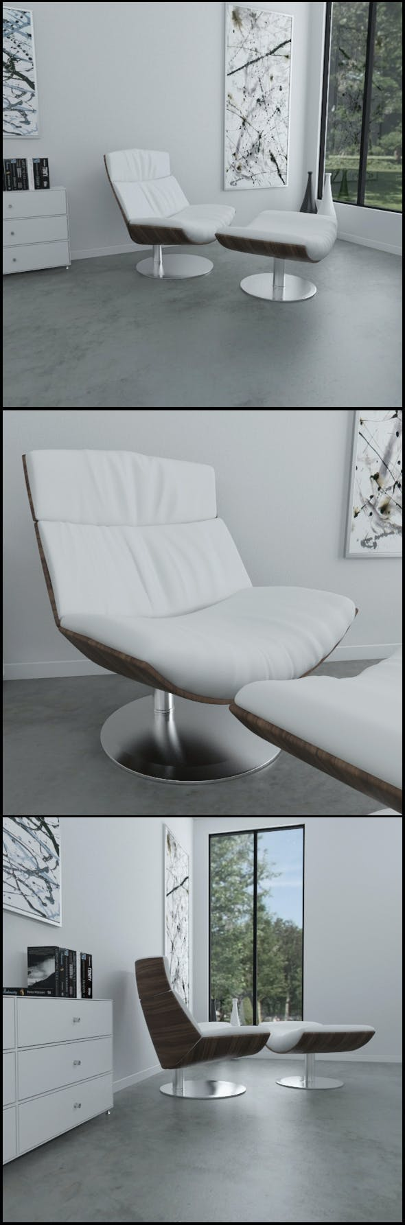 White leather KARA armchair - 3DOcean Item for Sale