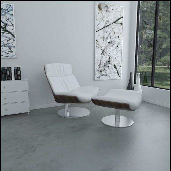 White leather KARA armchair