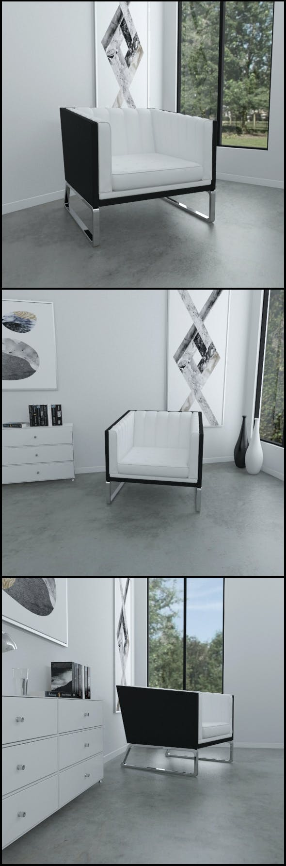 Contemporary leather armchair - 3DOcean Item for Sale
