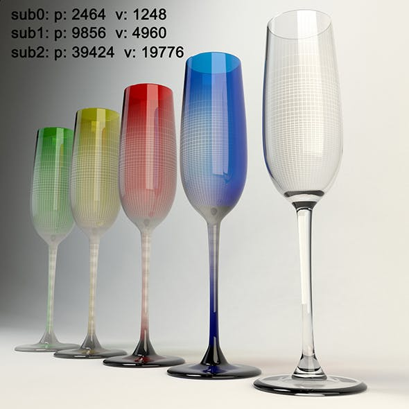 Champagne glassware - 3DOcean Item for Sale