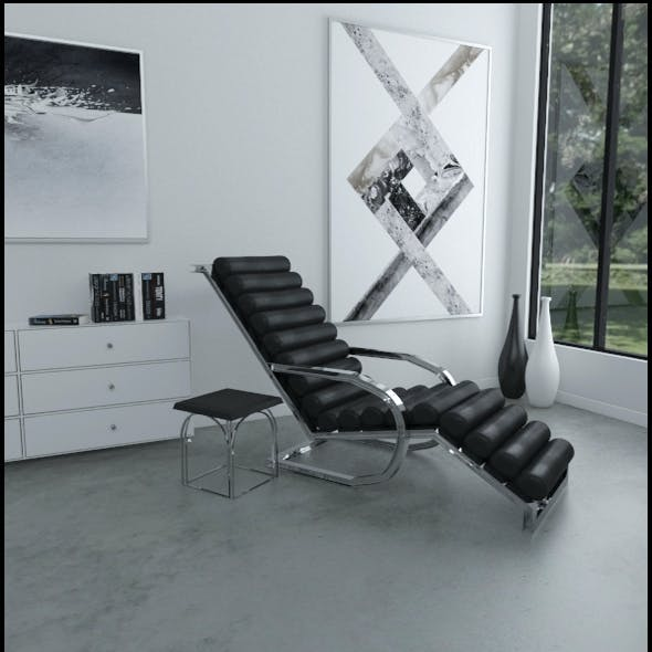 Black leather lounge chair with side table