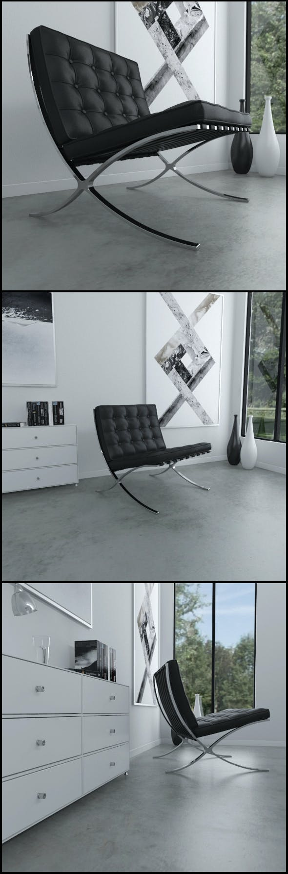 Barcelona chair (Black leather) - 3DOcean Item for Sale