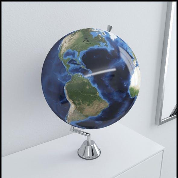 Earth globe on chrome stand
