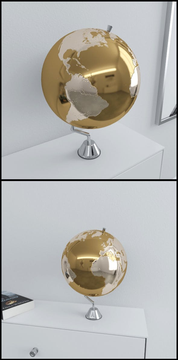 Gold Earth globe on chrome stand - 3DOcean Item for Sale
