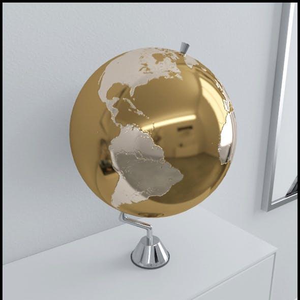 Gold Earth globe on chrome stand