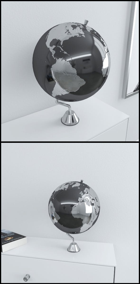 Silver Earth globe on chrome stand - 3DOcean Item for Sale