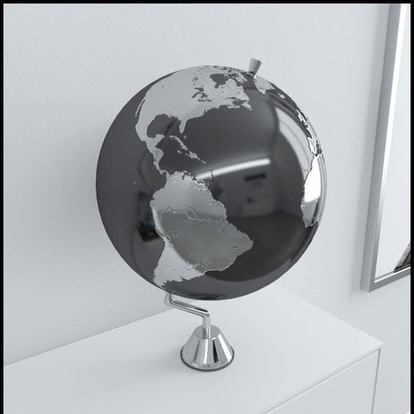 Silver Earth globe on chrome stand
