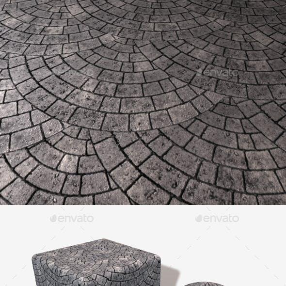 Circular Grey Brick Paving Seamless Texture
