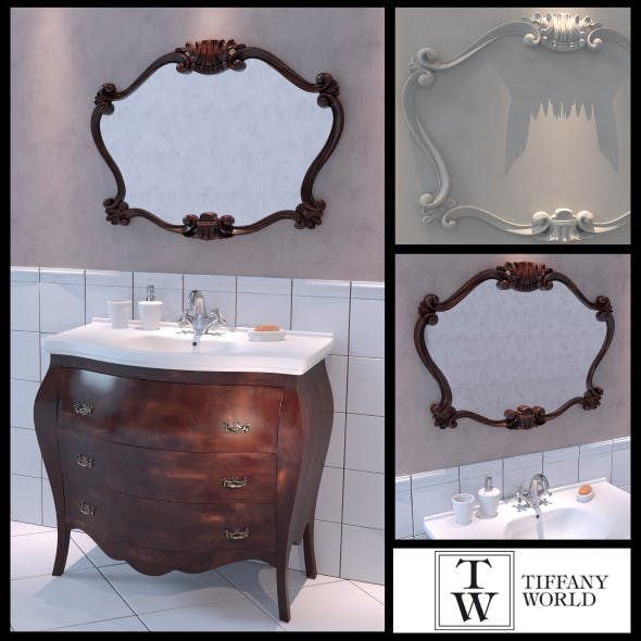 Washbasin Tiffany World Barocco decor - 3DOcean Item for Sale