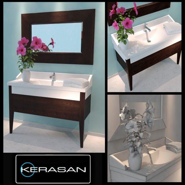 Washbasin Kerasan Bentley with flower - 3DOcean Item for Sale