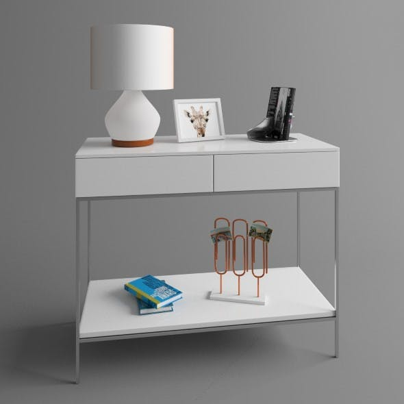 Console with lamp